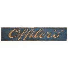 Huge Carved Wood Victorian Military Officers Sign Royal Blue and Gold Leaf