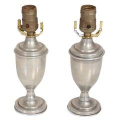 Hollywood Regency Pair of Petite Table Lamps in Aluminum