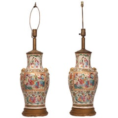 Large Pair of Rose Medallion Vases, Later Mounted as Lamps, China, circa 1850