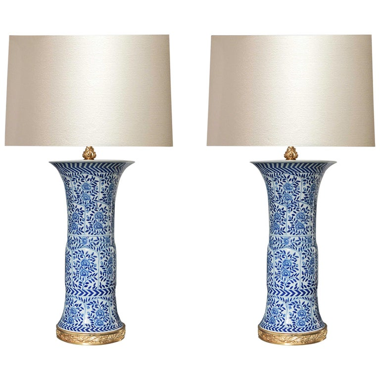 Pair of Blue and White Porcelain Lamps For Sale