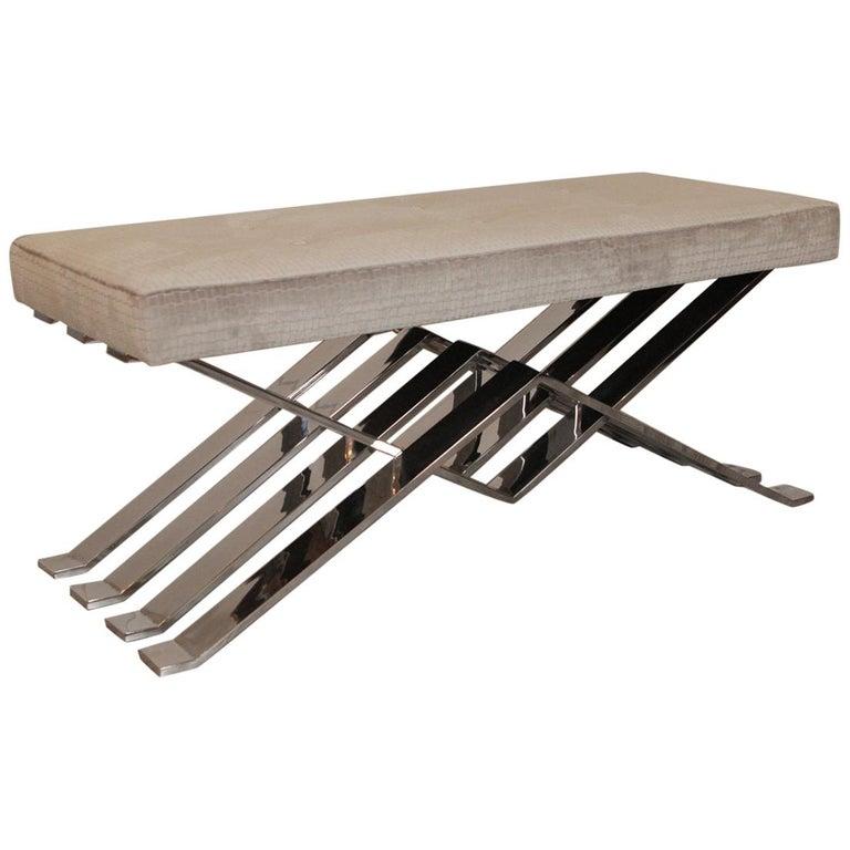 Polished Steel Zig Zag Bench For Sale