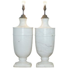 Pair of Huge Tall Solid Italian White Marble Urn Lamps, circa 1920s Rare