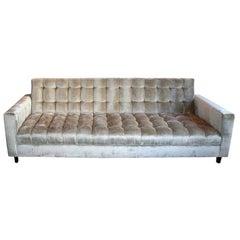 Custom Grey Velvet Tufted Sofa by Adesso Imports