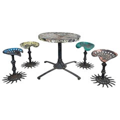 Folk Art Table and Stool Set