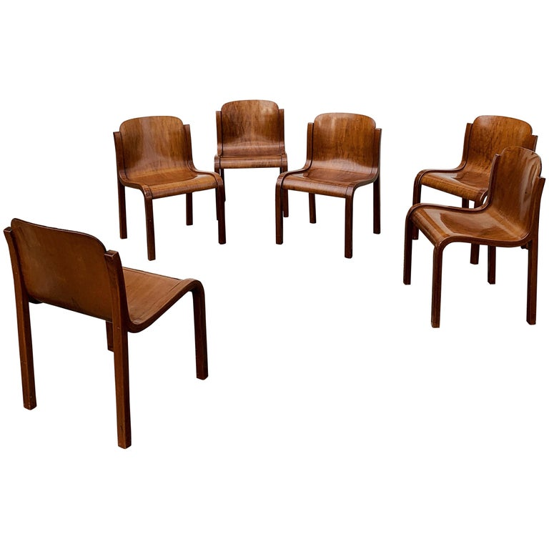 """Carlo Bartoli Midcentury Plywood Dining Chairs """"Mito"""" for T70, 1969, Set of 6 1"""