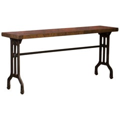 Industrial Console Table with Reclaimed Oak Top and Cast Iron Legs