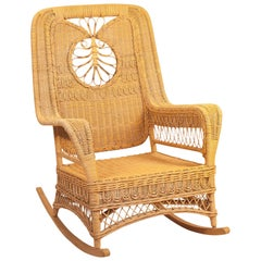 Vintage Hawaiian Wicker Rocking Chair, 1950s