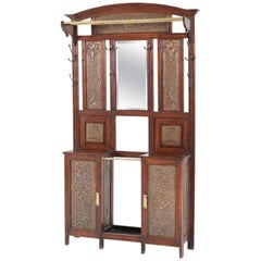 French Oak Art Nouveau Porte Manteau or Coat Stand with Brass Panels, 1900s