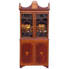 English Regency Mahogany Glass Front and Satinwood Inlaid Book Case, circa 1815