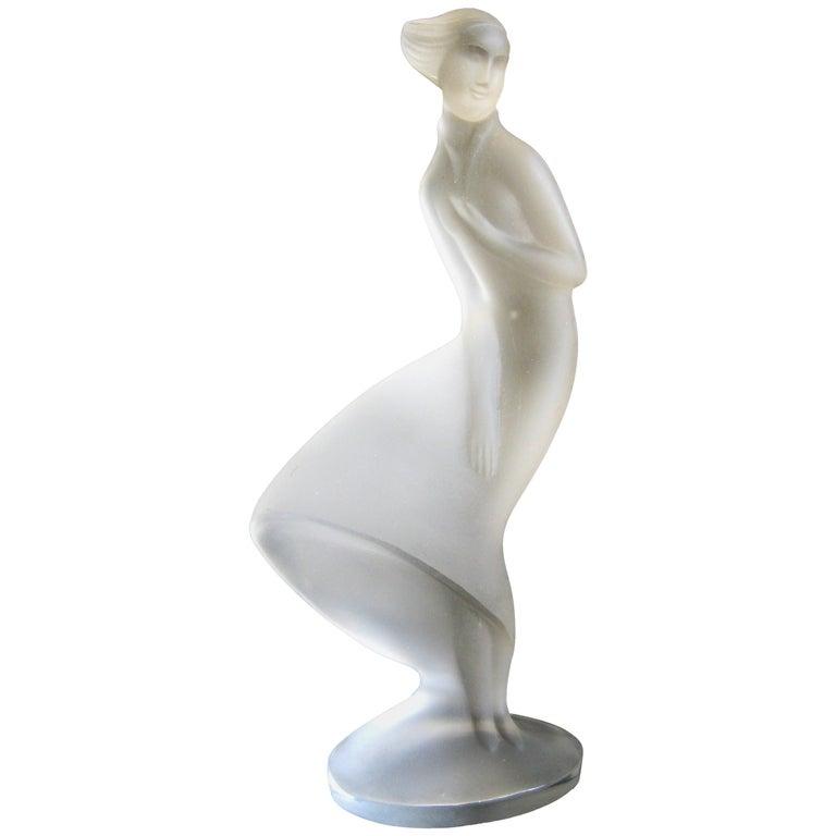 Czech Bohemian Curt Schlevogt Ingrid Art Deco Lady in the Wind Glass Statue For Sale