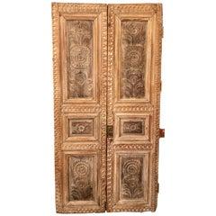 Pair of 19th Century Monumental Folk Art Doorways Mounted as Room Divider