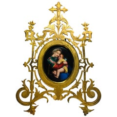 Antique Madonna of the Chair Miniature Painting on Porcelain in Gilt Metal Frame