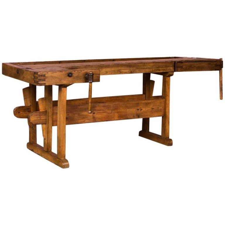Antique Danish Carpenter's Workbench or Console Table For Sale