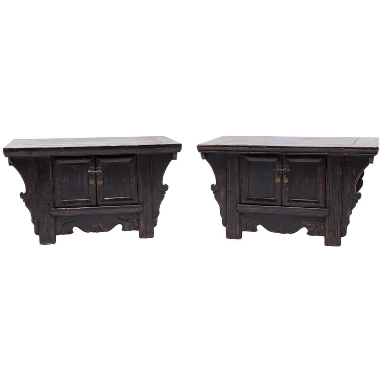 Pair of 19th Century Chinese Low Two-Door Chests 1