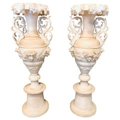 Pair of Neoclassical 19th Century Alabaster Three-Piece Urns or Vases