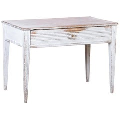 Antique Swedish Gustavian White Painted Side Table with Drawer