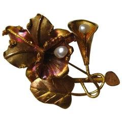 Vintage 18-Karat Gold Tropical Hawaiian Orchid Freshwater Pearl Brooch Pin