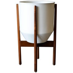 David Cressey Glazed Ceramic Planter with Original Walnut Stand, circa 1970
