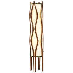 Mid-Century Modern Sculpted Walnut Floor Lamp by Modeline