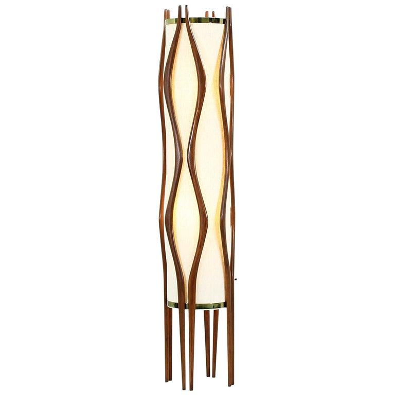 Mid-Century Modern Sculpted Walnut Floor Lamp by Modeline 1