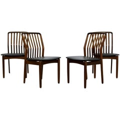 Mid-Century Modern Sven Madsen Set of 4 Walnut Side Dining Chairs Danish