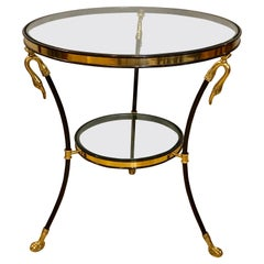 Neoclassical Style Brass and Ebony Steel Bouilliotte Table with Swan Heads