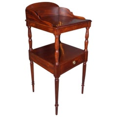 American Mahogany Sheraton One Drawer Wash Stand with Reeded Legs, circa 1810