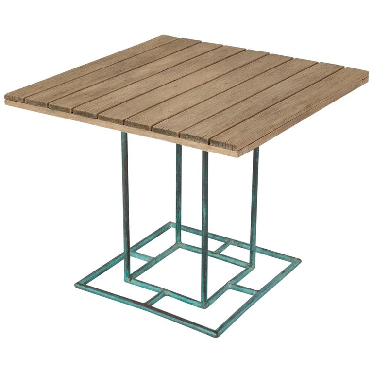 Square Patio Dining Table with Wooden Top by Walter Lamb for Brown Jordan 1