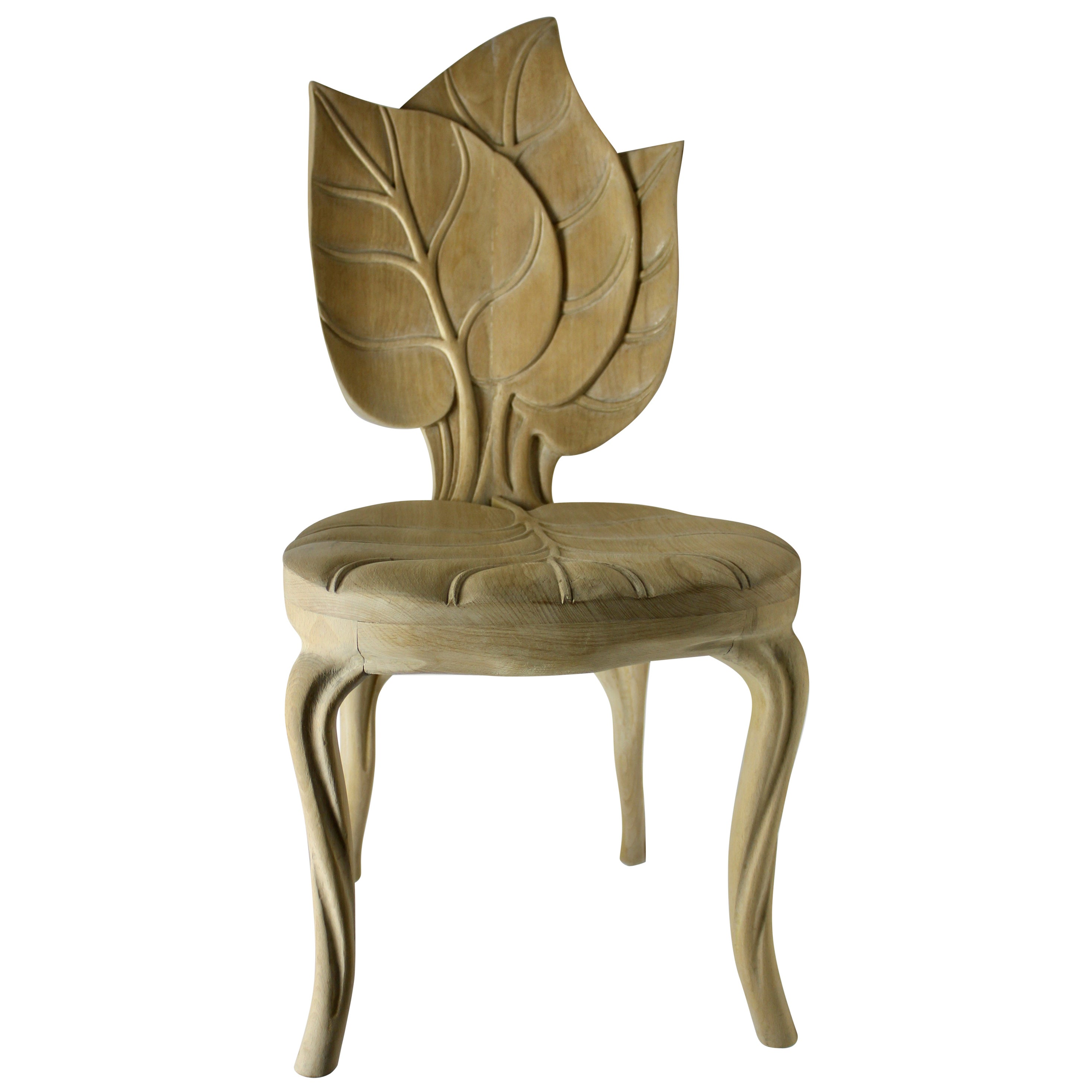 Organic Leaf Shape Wood Chair by Bartolozzi and Maioli