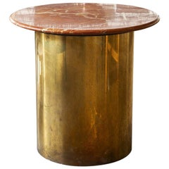 Vintage Round Marble and Brass Side Table