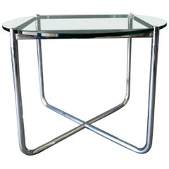 Mies Van Der Rohe for Knoll Chrome and Glass Side Table, circa 1975