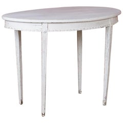 Antique Swedish Gustavian White Painted Oval Side Table