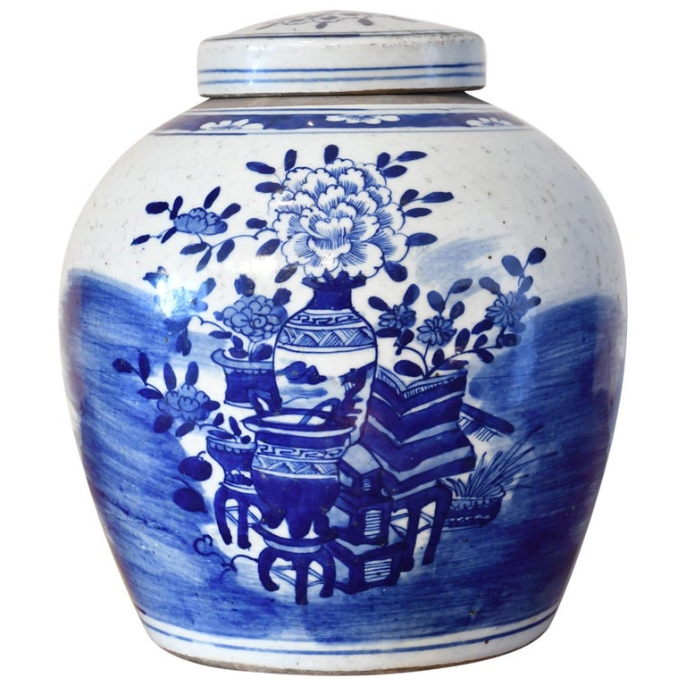 Kangxi Blue & White Chinese Porcelain Jar w/ One Hundred Treasures Motif, c 1750 For Sale
