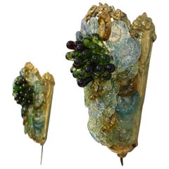 Rare and Elegant Pair of Italian Brass and Murano Glass Sconces, 1950s