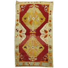 Vintage Turkish Oushak Red Field Scatter Rug
