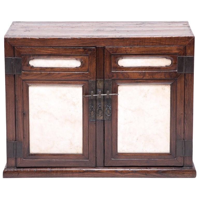 18th Century Chinese Chest with Marble Paneled Doors 1