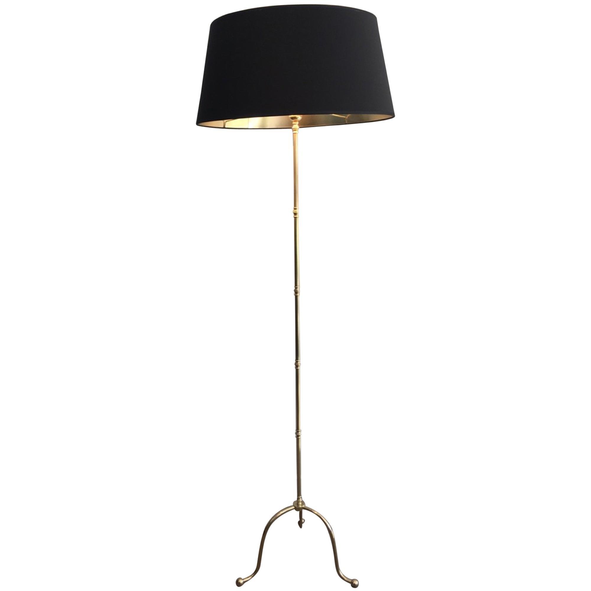 Neoclassical Brass Floor Lamp, French, circa 1940