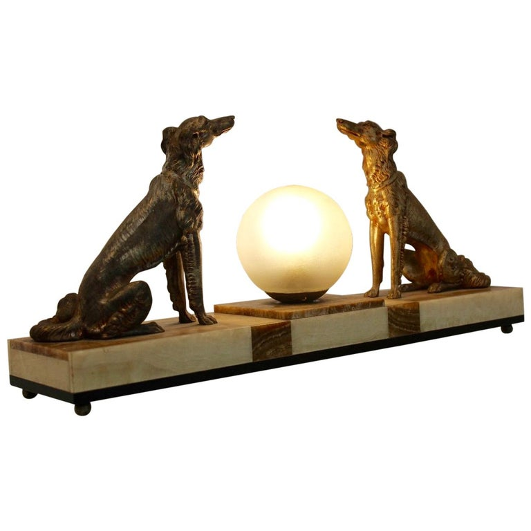 Art Deco French Greyhound Sculpture Table Lamp 1