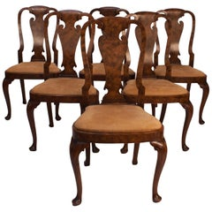 Set of 6 Queen Anne Style Walnut Dining Chairs, England, circa 1900