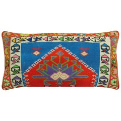 Vibrant Red and Blue Large Vintage Turkish Rug Pillow