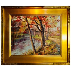 "John E Berninger ""Fall Along The Lehigh River"" Oil On Canvas"