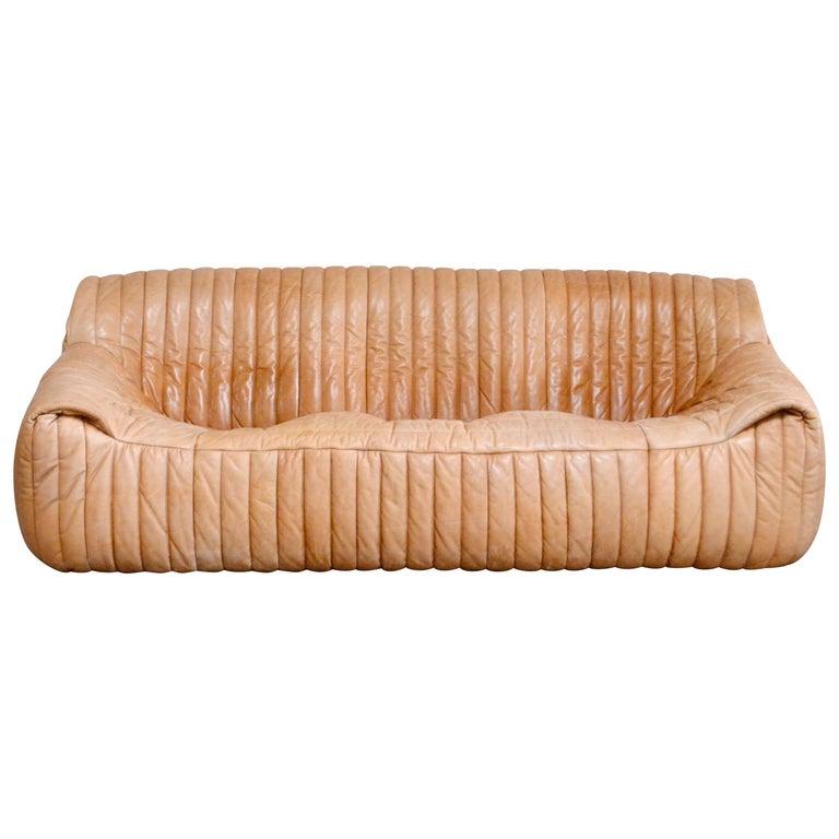 Cinna / Ligne Roset Leather Sofa Sandra by Annie Hieronimus Natural Cognac