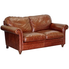 Laura Ashley Mortimer 2 Sofa Bed in Vintage Heritage Brown Leather