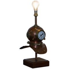Stunning Vintage Small Divers Copper and Brass Helmet with Clock and Lamp Table