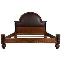 Antique English Regency Carved Walnut King Size Bed