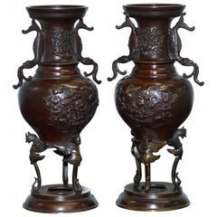 Pair of Oriental Bronze Urns Vases Bird Serpentine Decorations Chinese Japanese