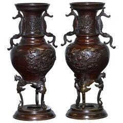 Pair of Oriental Bronze Urns Vases Bird Serpentine Decorations Chinese Japanese