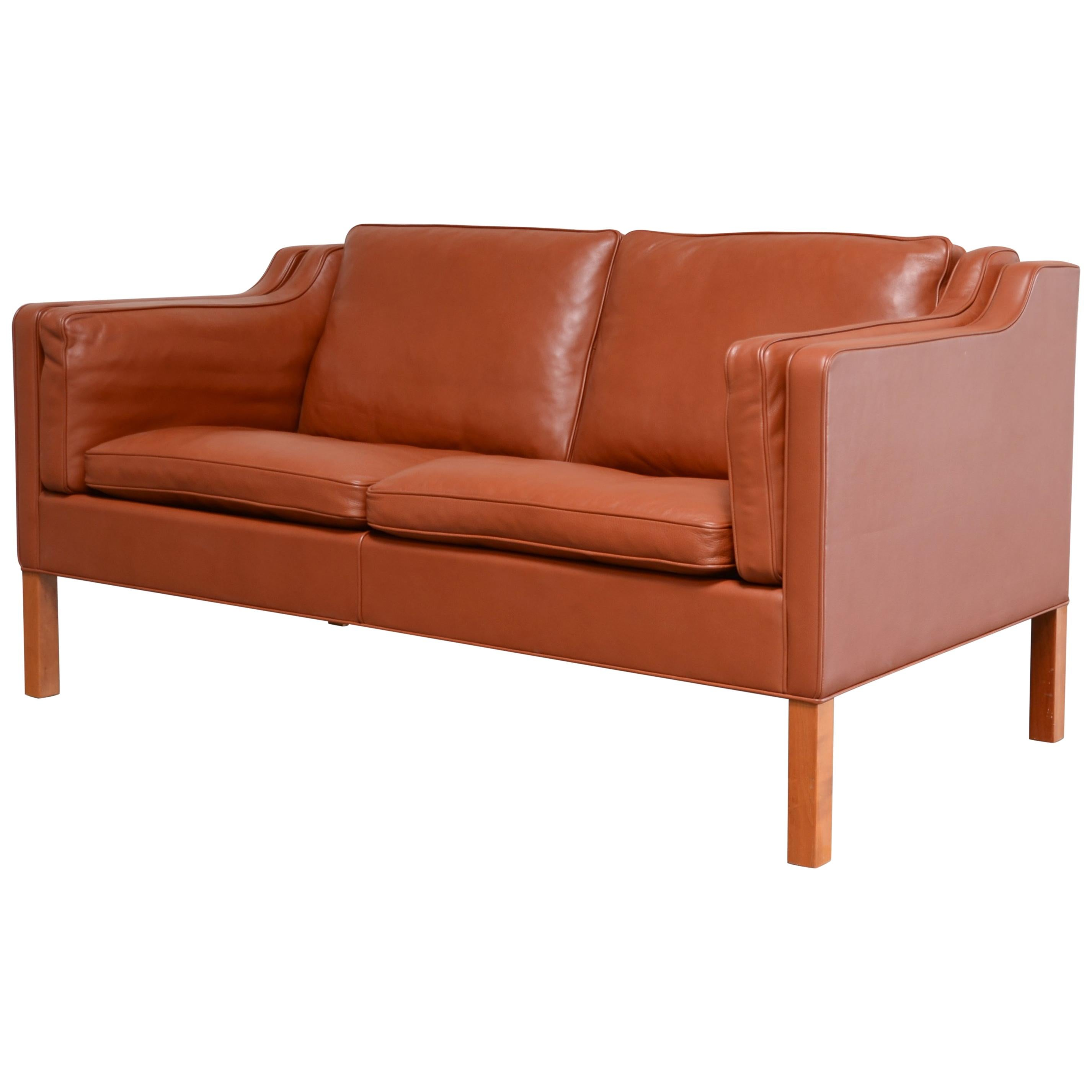 Borge Mogensen Leather Sofa Model 2212 Red Brandy Cognac for Fredericia