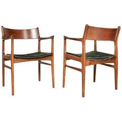 1950s Funder-Schmidt Madsen Odense Denmark Teak Arm Chairs w/ Cowhide Seats, Pr