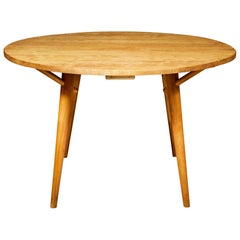 1950s Round Maple Wood Dining Table